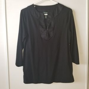 Lauren Ralph Lauren Popover Top Linen Collar L